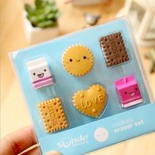 6pcs /box Milk Biscuits Eraser Set creative rubber eraser stationery school supplies papelaria child's gift students supplies