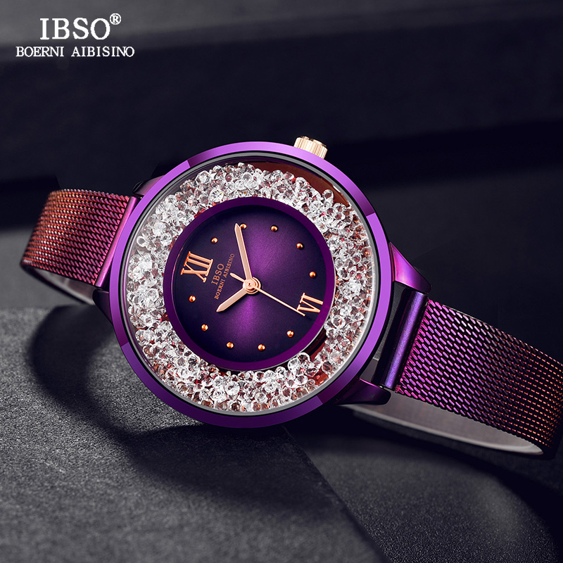IBSO New Fashion Women Watches Stainless Steel Mesh Strap Ladies Quartz Watch Women Relogio Feminino Luxury Montre Femme 2018