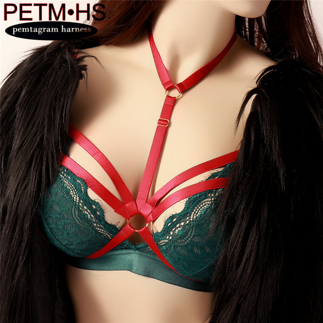 f420af0f33 Womens Sexy Body Harness Bondage Lingerie Cage Bra Red Elastic Strap Tops  Harness Lingerie Rave Wear Halloween Wife Day Gift