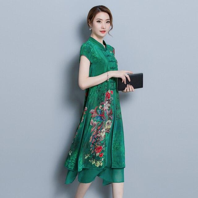 Vintage Women High Quality Chiffon Print Calf Length Dress Luxury Short Sleeve Split Patchwork Loose Large Size Summer New 2018 1