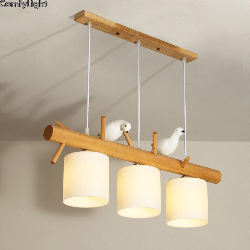 Nordic moderna conduziu a Luz Pingente de Vidro Sala de Jantar a Luz Da Cozinha Designer de pássaro Pendurado Lâmpadas Lustre Iluminação Home Decor Avize E27