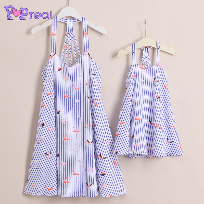 PopReal Hot Sale Mom Girl Stripes Birds Prints Back Bandages Sleeveless Matching Dress Mommy and Me Clothes Girls Summer Dress ...