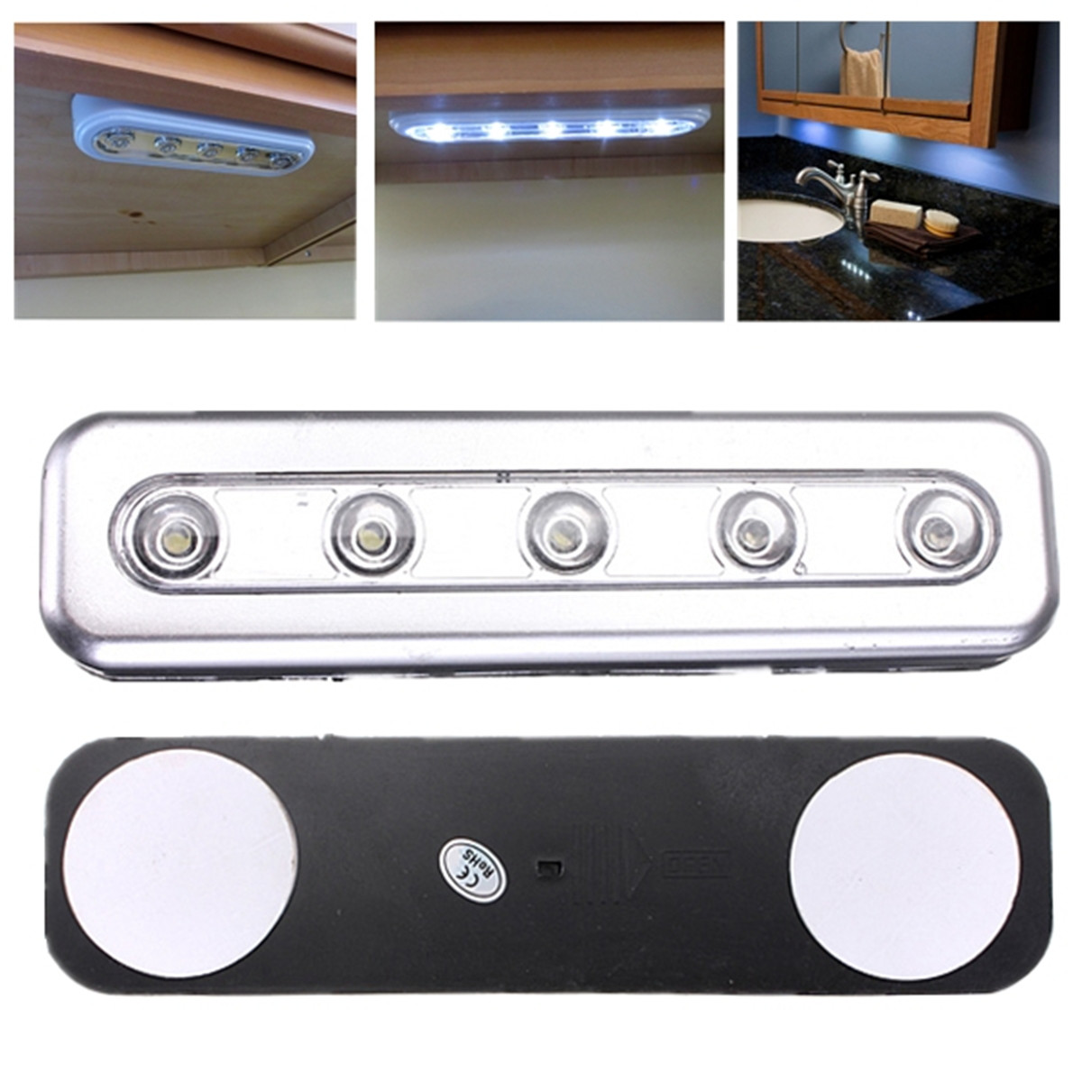 5 LED Light Tube Under Cabinet Push Tap Touch Night Light Emergency ...