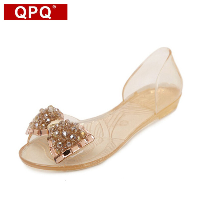 8e1666ee21de QPQ Women Sandals Summer Bling Bowtie Fashion Peep Toe Jelly Shoes Sandal  Flat Shoes Woman 2 Colors Size 36-40