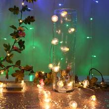 2M 20 LEDs flower leaf garland battery operate Copper LED fairy string lights for christmas wedding decoration party event
