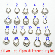 21pcs/lot silver gold color clear crystal fake nose rings hoop body piercing jew