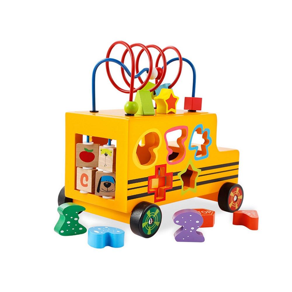 Puzzle en bois jouet préscolaire Cube perle jouet éducatif robuste en bois multifonctionnel numéro forme correspondant Bus jouet pour enfants