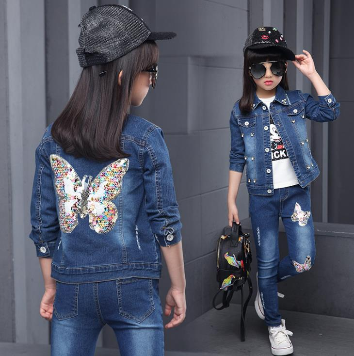 Sequined butterfly Girl's Clothing Set for Spring Baby Girl Denim Suit cotton Denim Long Sleeve Jacket+shirt+denim Jeans 3pcs