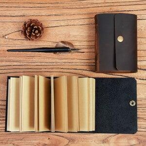 Image 3 - Mini diário de bolso feito à mão, diário para caderno de couro para viagem, diário, sketchbook, presente de aniversário, escola criativa vintage