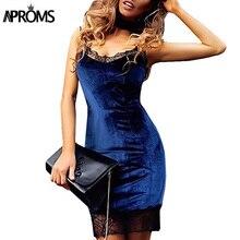 Aproms Elegant Bule Velvet strap lace dress women sleeveless evening bodycon dress 2017 sexy v neck party dresses Robe 10996