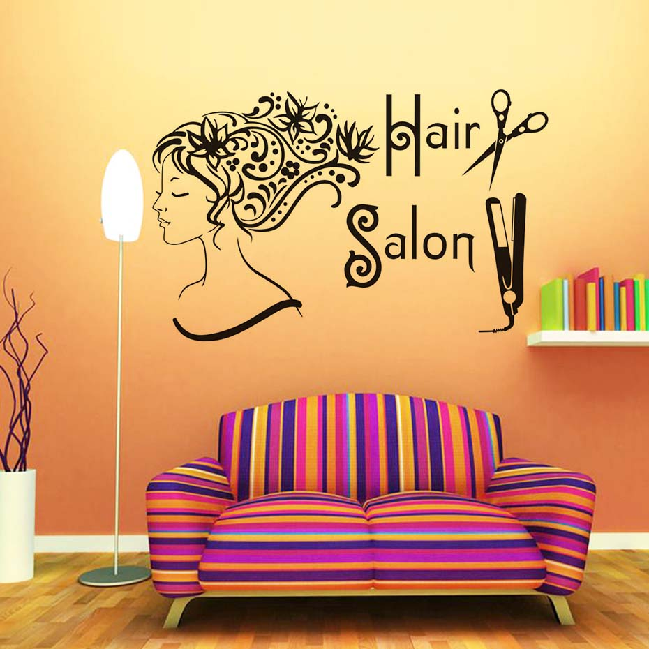 Fashion Girl Wall Stickers Hair Salon Shop Wall Decor Removable Self ...