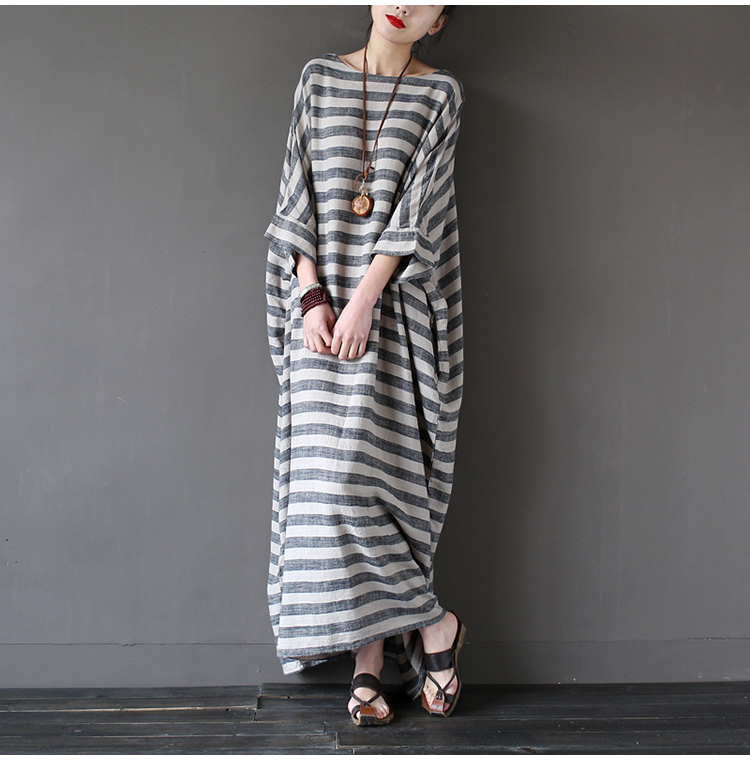 Women Striped Dress big Size Women Clothes 2017 Spring Casual Cotton Linen O-Neck wrist Sleeve Loose Vintage long Dresses