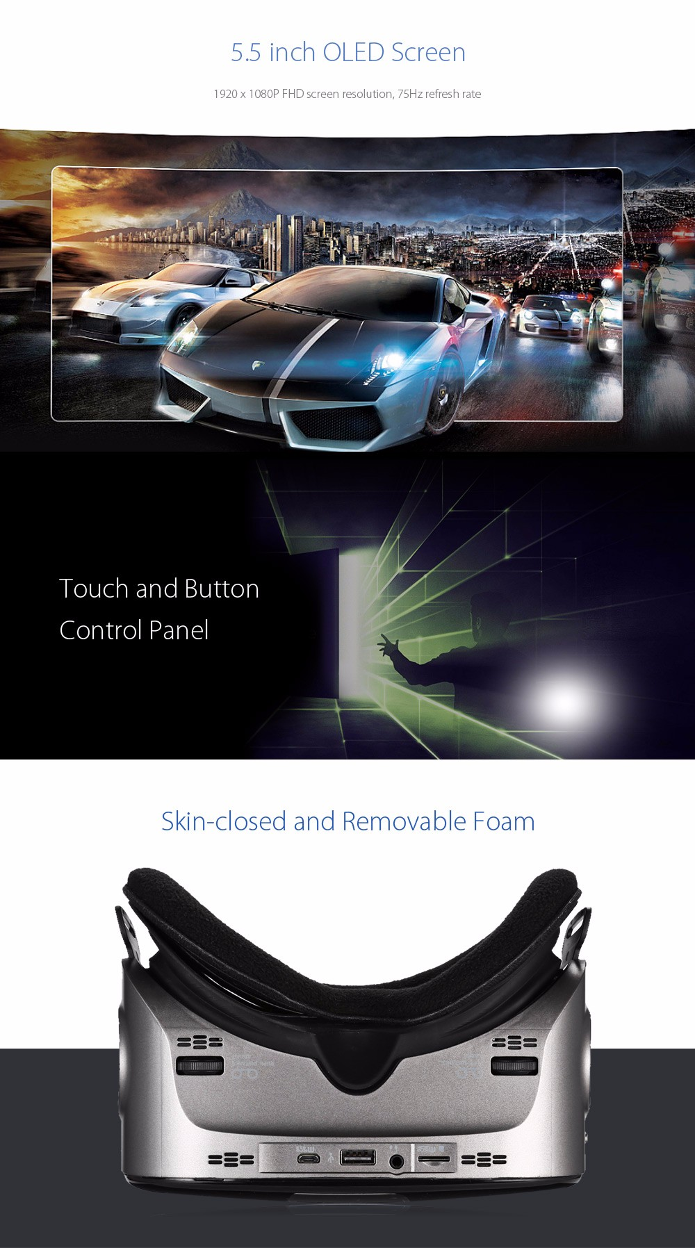 Original VIULUX V6 All-in-one VR 3D Headset Bluetooth WiFi 110 Degree FOV IPD Adjustment 5.5 inch Display 1920*1080p support 4k