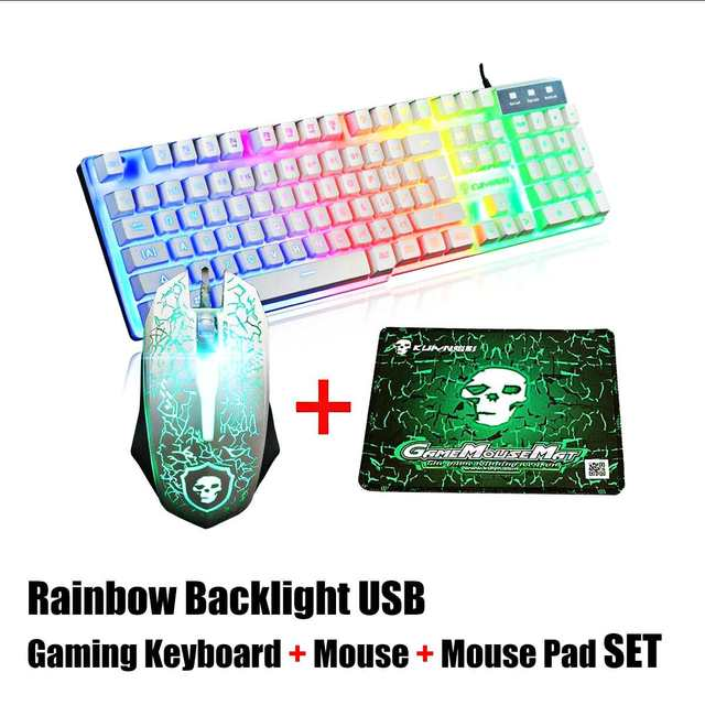 LED Rainbow Backlight USB Ergonomic Wired Gaming Keyboard + 2400DPI Mouse + Mouse Pad Set Kit for PC Laptop Computer Gamer 2