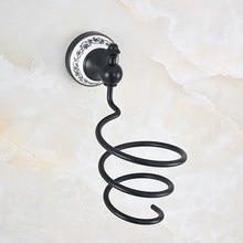 Черный масло натертый латунь керамика основа волосы фен держатель стена крепление сушилка держатель ванная аксессуары ванна оборудование aba768