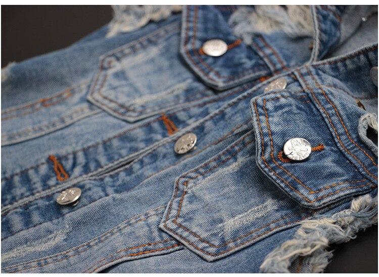 Colete jeans com buracos de rebite feminino,