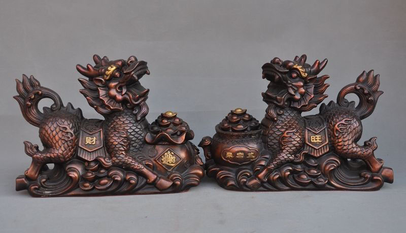 Christmas Chinese Fengshui Bronze Wealth Treasure Dragon Kylin Unicorn chi-lin Statue Pair HalloweenChristmas Chinese Fengshui Bronze Wealth Treasure Dragon Kylin Unicorn chi-lin Statue Pair Halloween
