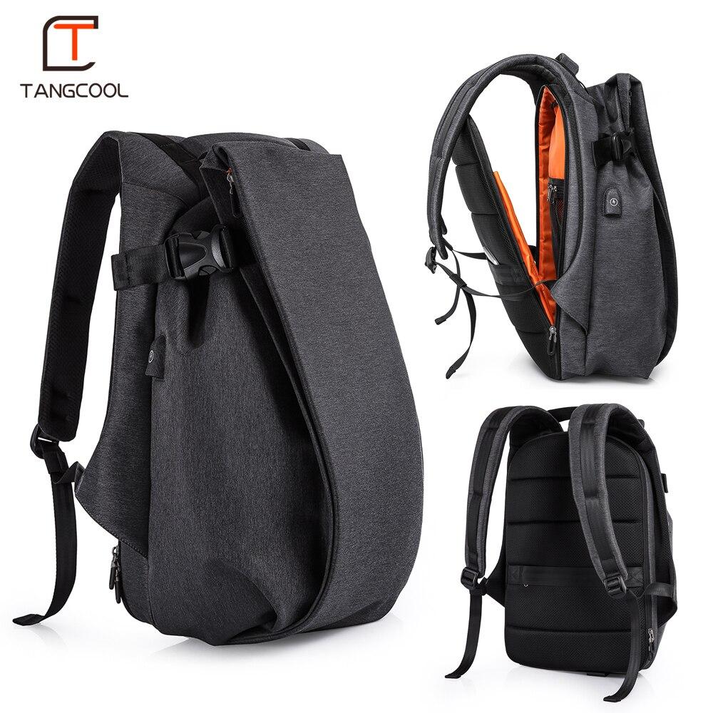Tangcool de los hombres de la moda mochila para portátil de 17,3 puerto USB de viaje impermeable mochila de gran capacidad estudiante escuela mochila