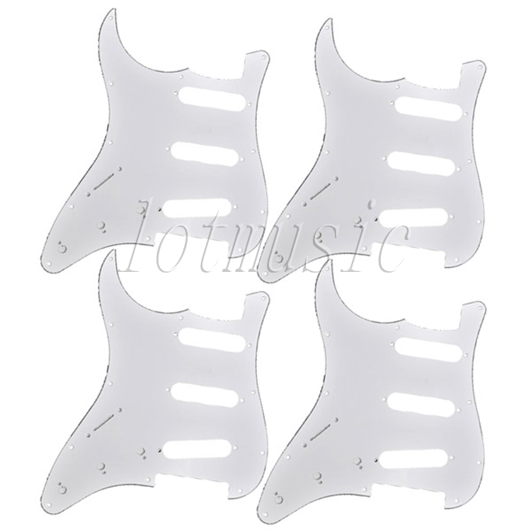 4* Standard Pickguard 3ply Left Handed Guitar Parts For Fender Strat ST Replacement 3 ply electric guitar pvc pickguard for fender strat st musical stringed instruments guitar parts