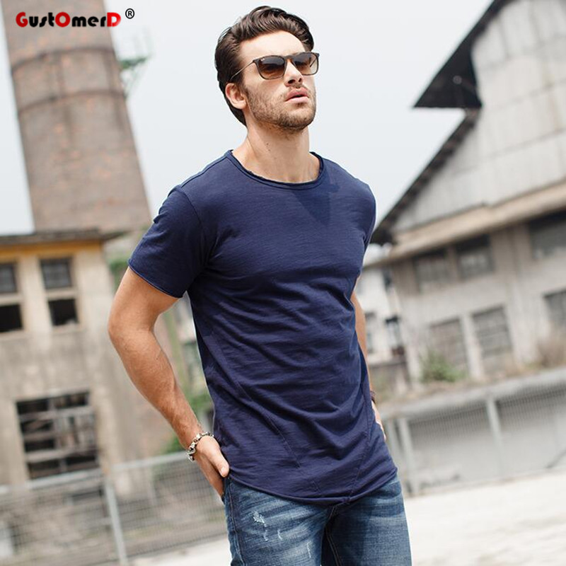 GustOmerD T shirt Men Brand Clothes Fashion Solid Color O-neck T-shirt Man's Cotton Short Sleeve Male Casual T-shirts S-XL
