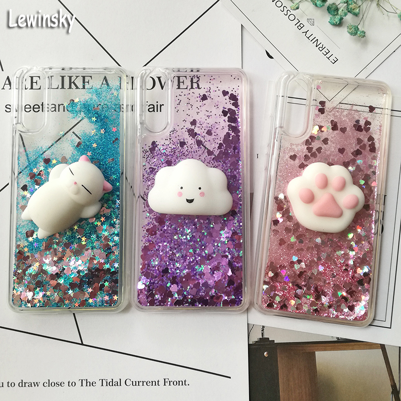 Cute 3D Squishy Cat Case For Huawei P20 pro P8 P9 lite P10 Plus Liquid Glitter phone Case Mate 9 Y5 GR5 2017 Y6 II Y9 2018 Cover