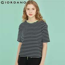 Giordano Women T Shirt Contrast Striped Tee Shirt Femme Short Sleeve Stretchy Camisetas Verano Mujer 2019 Roupas Feminina(China)