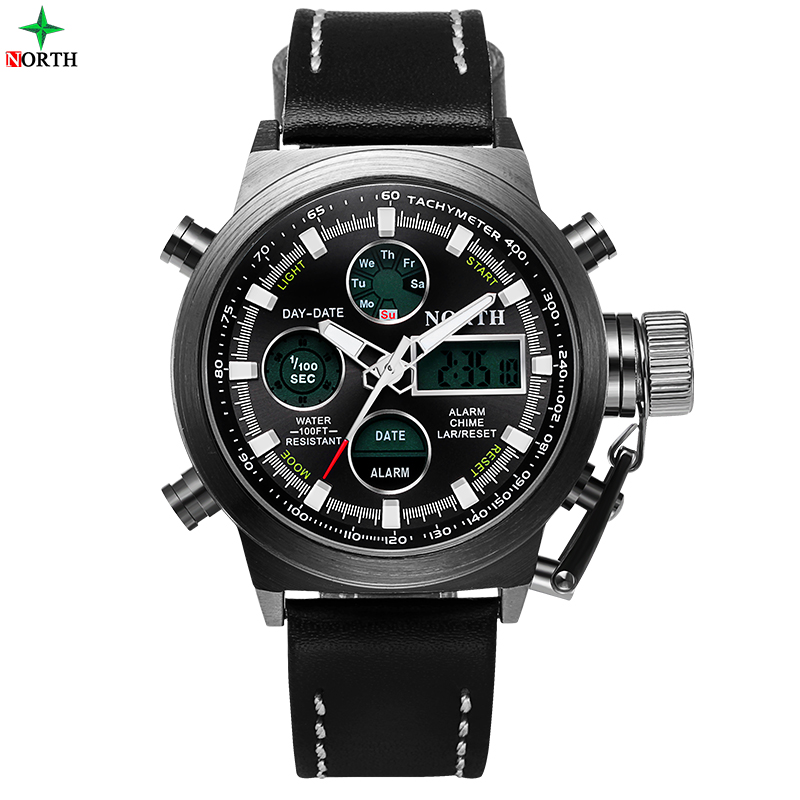 North Luxury Brand Men Waterproof Full Steel Watches Men's Quartz Analog LED Clock Male Sport Wrist Watch Relogio Masculino plus size christmas santa claus snowman hoodie