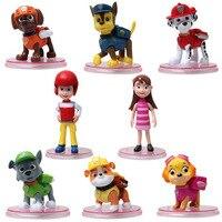 8 Pcs Set PAW Patrol Puppy Dog Toy Childrens Anime Action Figure Toy Mini Figures Patrol