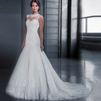 White Mermaid Wedding Dresses Fancy Bodice Sexy Perfect High Collar Strapless Court Train Appliques Bridal Dresses Plus Size