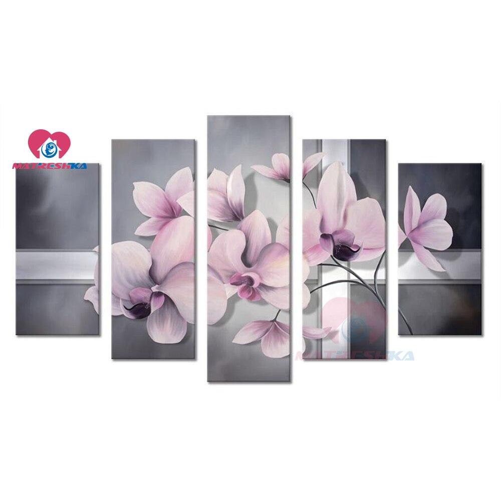 5 pièces bricolage 5d diamant peinture fleur diamant broderie image de strass Multi diamant mosaïque photos point de croix autocollant