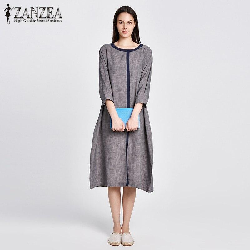 ZANZEA 2018 Spring Dress Crew Neck 3/4 Batwing Sleeve Party Mid-Calf Dress Loose Pockets Shift Solid Oversized Vestido M-5XL