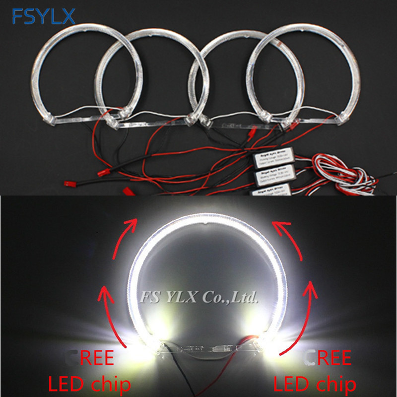 цена на FSYLX Crystal LED angel Eyes for BMW E36 E38 E49 E46 Projector Car LED headlight halo ring SMD CreesLED LED angel Eyes for BMW