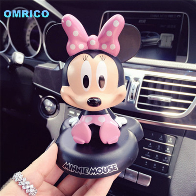 Funny Lovely Pink Bow Minnie Mouse Car Doll Inside Cute Auto Accessories Christmas Ornament Girlfriend Birthday