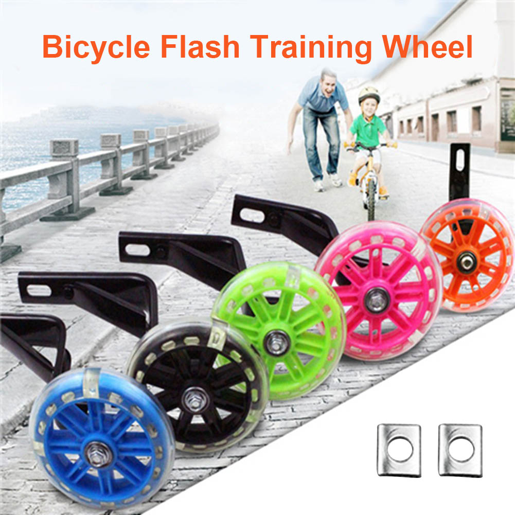1 Pair Children Kids Bicycle Bike Training Wheels Flash Stabilisers Safe For Cycling Balance YS-BUY
