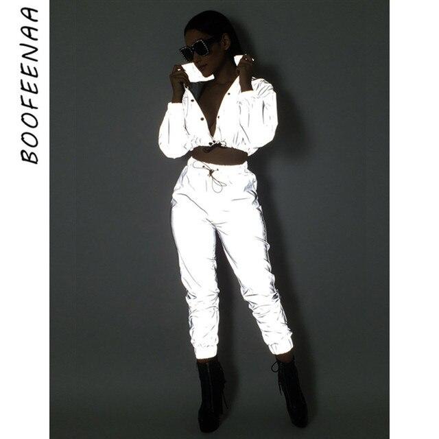 BOOFEENAA 反射ツーピースセット巾着クロップトップとパンツヒップホップクラブフェスティバル衣装トラックスーツジョギングスーツ C0-AI23