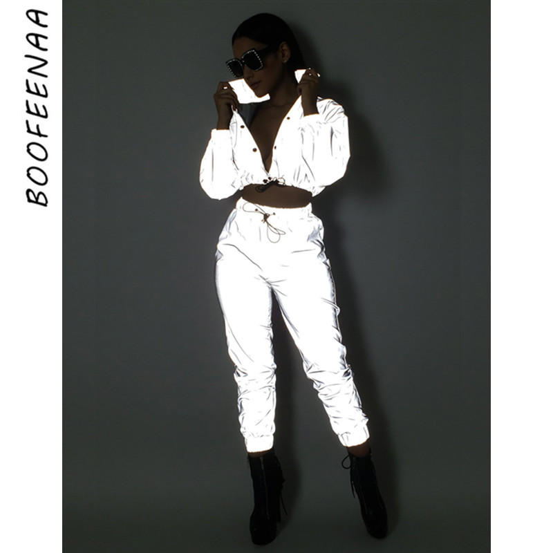 BOOFEENAA Reflective Two Piece Set Drawstring Crop Top And Pants Hip Hop Club Festival Outfit Tracksuit Joggers Suit C0-AI23