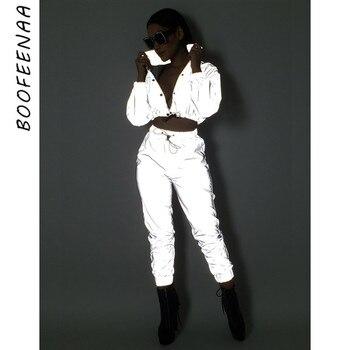 SEXEMARA Reflective Two Piece Set Drawstring Crop Top and Pants Hip Hop Club Festival Outfit Tracksuit Joggers Suit C0-AI23 roupas da moda masculina 2019