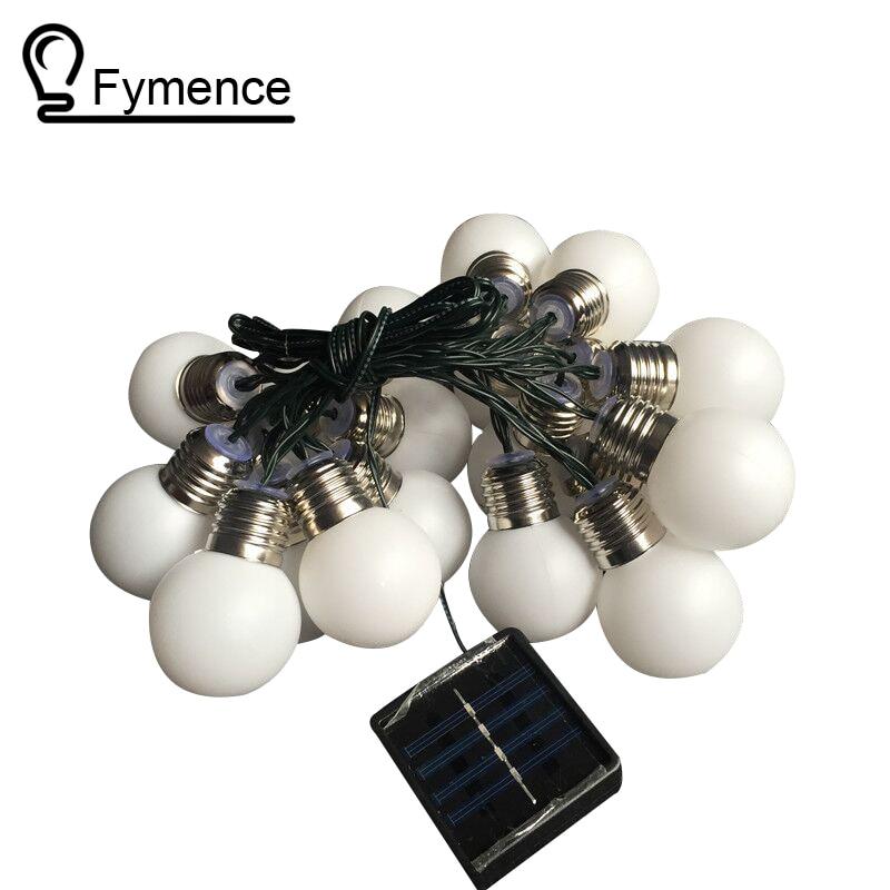 1X Led Solar Powered Led String Light 4M 10 G50 Bulb Waterproof Globe Led String Lights for Fence/Patio/Yard/Garden White/Warm