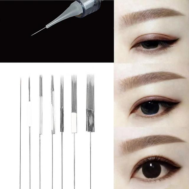 90b833b259bb6 50Pcs 7Types Disposable Fog Eyebrow Permanent Eyeliner Lip Tattoo  Microblading Needle + Needle Cap Permanent Makeup