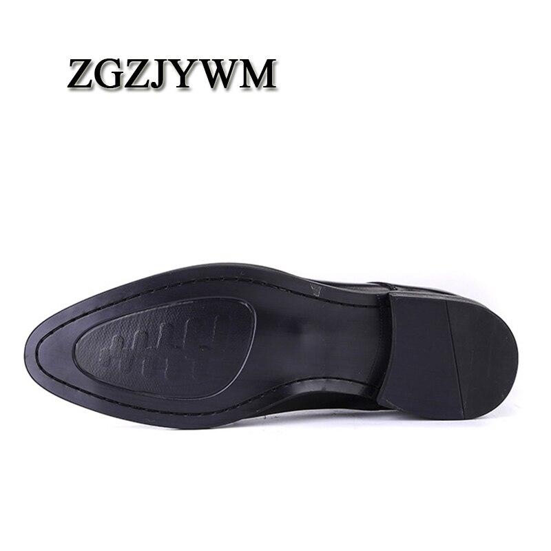 Oxfords Fivela Apontou Couro Preto Homens Lace Casual Flats Oxford Vestido Black De up Zgzjywm Casamento Alta Sapatos Qualidade Sólidos Toe Genuíno AEZTO