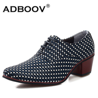 6cm High Heel Mens Leather Shoes Knit Weave Gents Fashion Leisure Party Dress Shoes Man 2