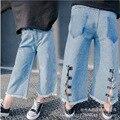 Корейская версия новой Корейской детской одежды дикие широкие брюки ноги в талии брюки бесплатная доставка