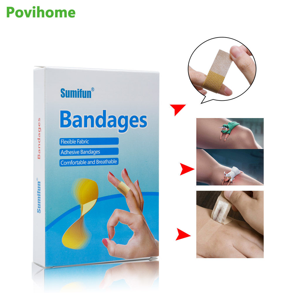 100Pcs Medical Adhesive Plaster Band Aid First Aid Bandage Strips Wound Dressings Sterile Hemostasis Stickers K02901 цена и фото