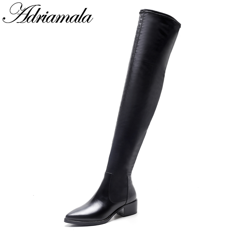 2018 Genuine Leather Ladies High Heel Boots Over The Knee Pointed Toe Square Heel Cow Leather Women Long Black Boots Adriamala