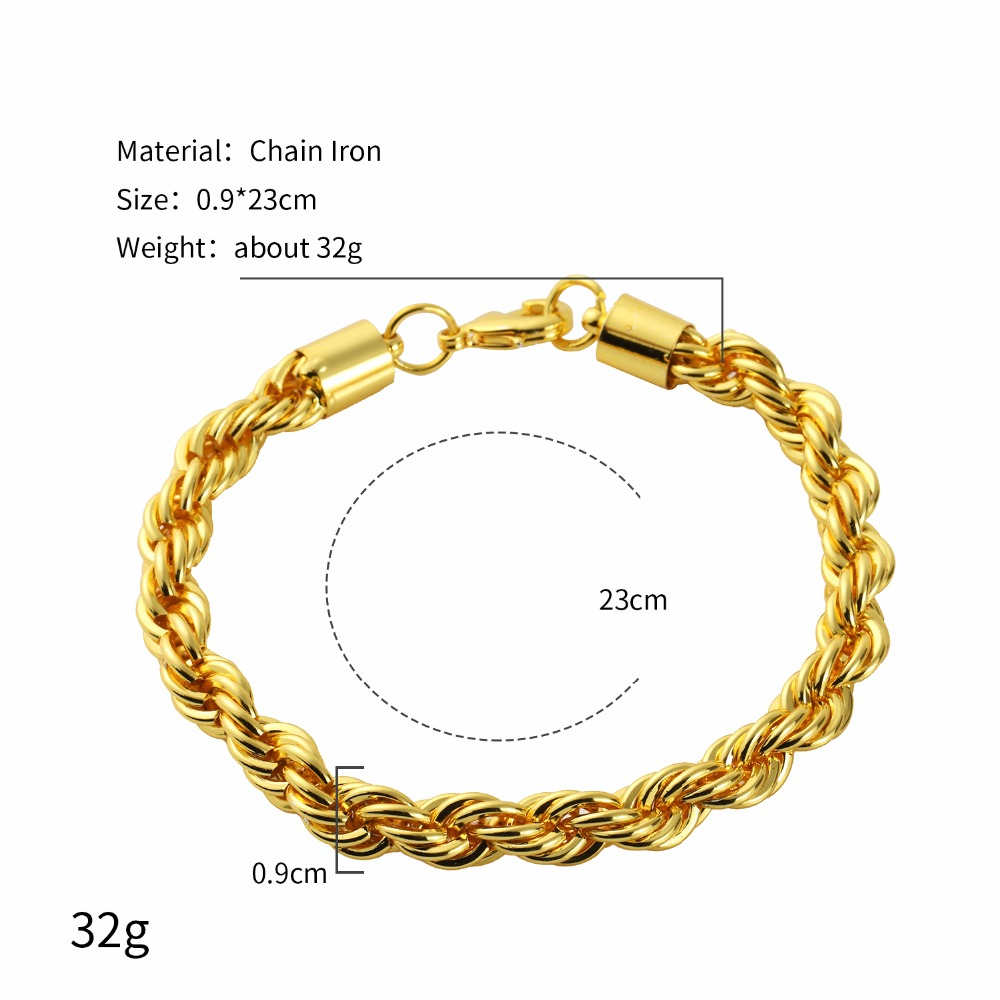 9e4b85e0c4228 Hip Hop Jewelry Gift Set Rope T Chains Golden Necklaces Men Women Bling  0.9cm wide Super Thick Pendants Bracelets-in Jewelry Sets from Jewelry &  Accessories ...