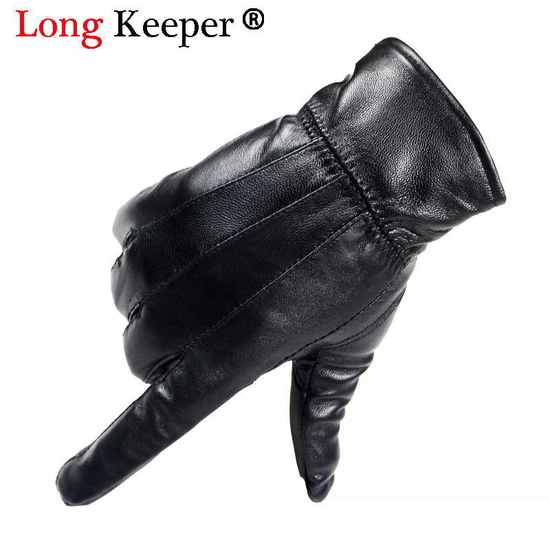 Hot!! Men's Genuine Leather Gloves Real Sheepskin Black Touch Screen Gloves Fashion Luxury Brand Winter Warm Mittens New Arrival