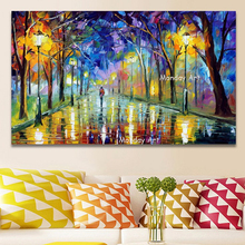 100% Hand Painted Romantic Rainy Street Oil Painting Canvas pictures Christmas Gift Modern Abstract Knife Landscape Wall Artwork