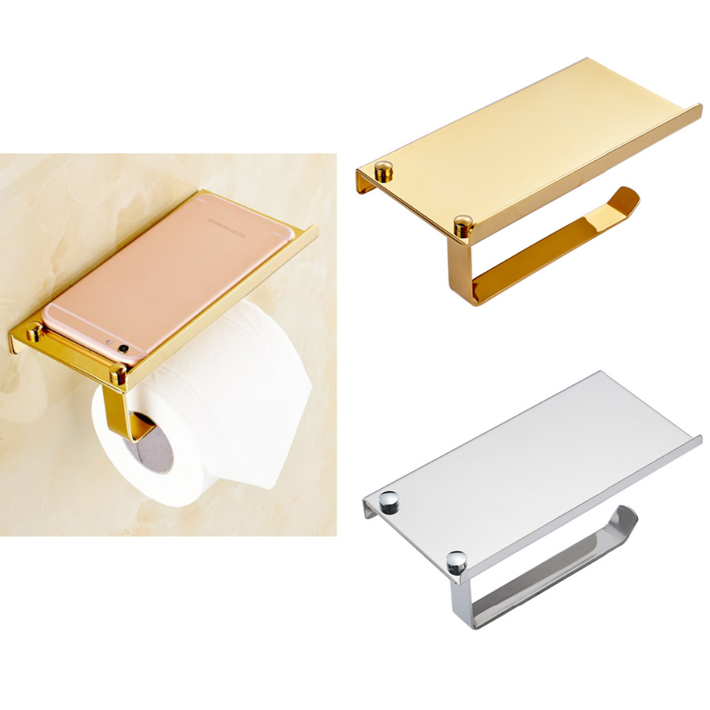 Modern Design Stainless Steel Bathroom Toilet Paper Holders Wall Mount Roll Tissue Rack Roll Paper Holder With Shelf Hold Phones ...
