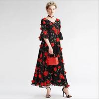 T-stage Cloth 3D Chiffon Flowers Print Chiffon Lace Fabric One-piece Width 130cm 1yard