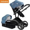 Cochecito de bebé de 180 grados asiento de rotación cuatro ruedas coches de paisaje alto plegable cochecito y cochecito Reversible